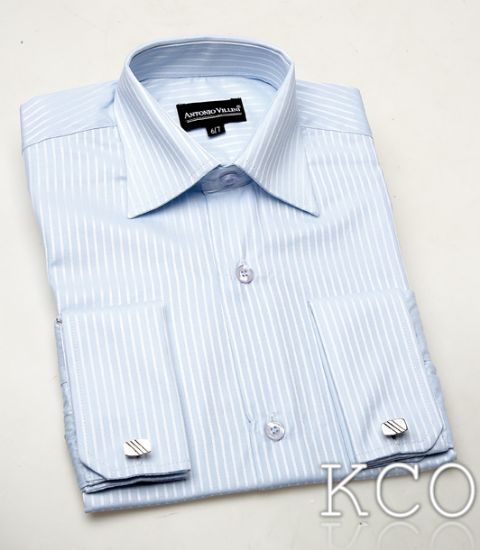 Double Cuff Striped Shirt With Cufflinks Blue